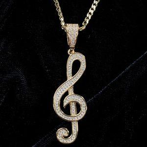 MUSIC NOTE FULL DIAMONDS CZ 18K GOLD CHAIN ITALY!!